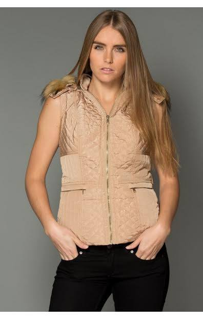 HOODED FUR-LINED PUFFER VEST