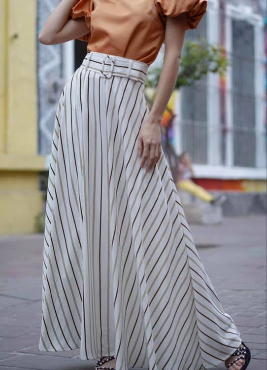 A LINE STRIPE MAXI SKIRT