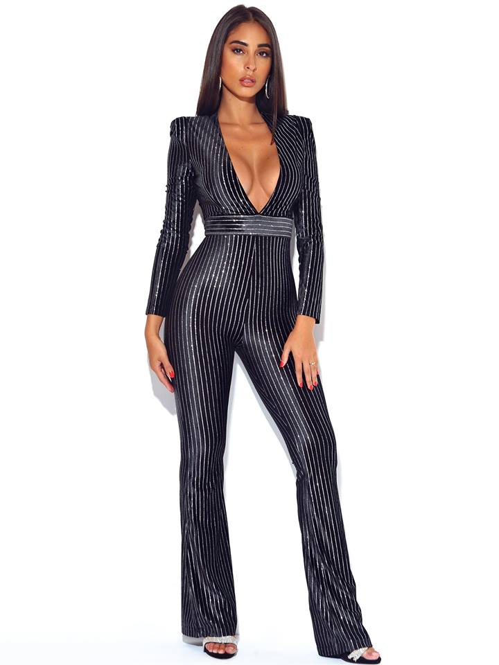 STRIPES FLARE JUMPSUIT