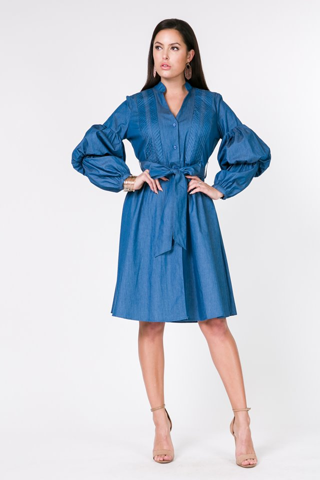 PUFFY SLEEVE DENIM DRESS