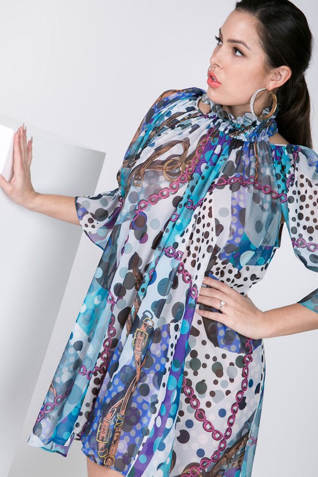 RUFFLE SLEEVE PRINT TUNIC SHEER TOP