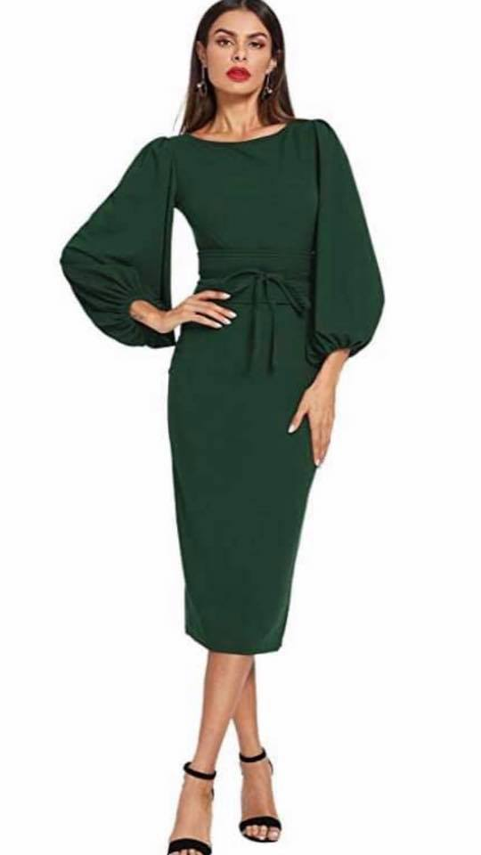 PUFFY SLEEVE MODEST DRESS
