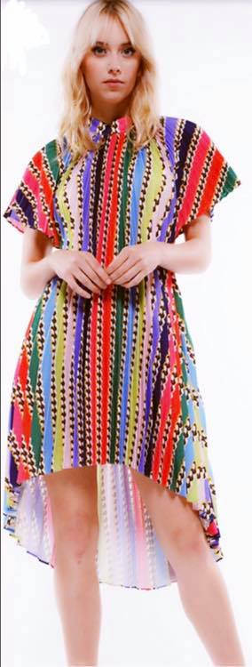 MULTI COLOR PLEATED HI LOW DRESS
