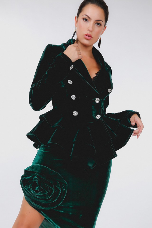 EMERALD GREEN VELVET SUIT
