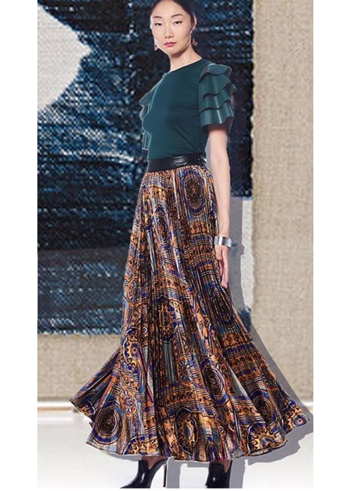 ETHNIC PATTERN PLEATS SKIRT