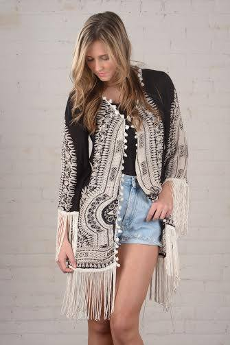 OPEN KAFTAN WITH FRINGES