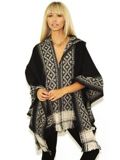 PONCHO W/ HOOD IN BLACK TRIBAL