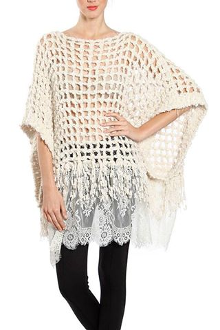 PONCHO SWEATER W/ LACE BOTTOM