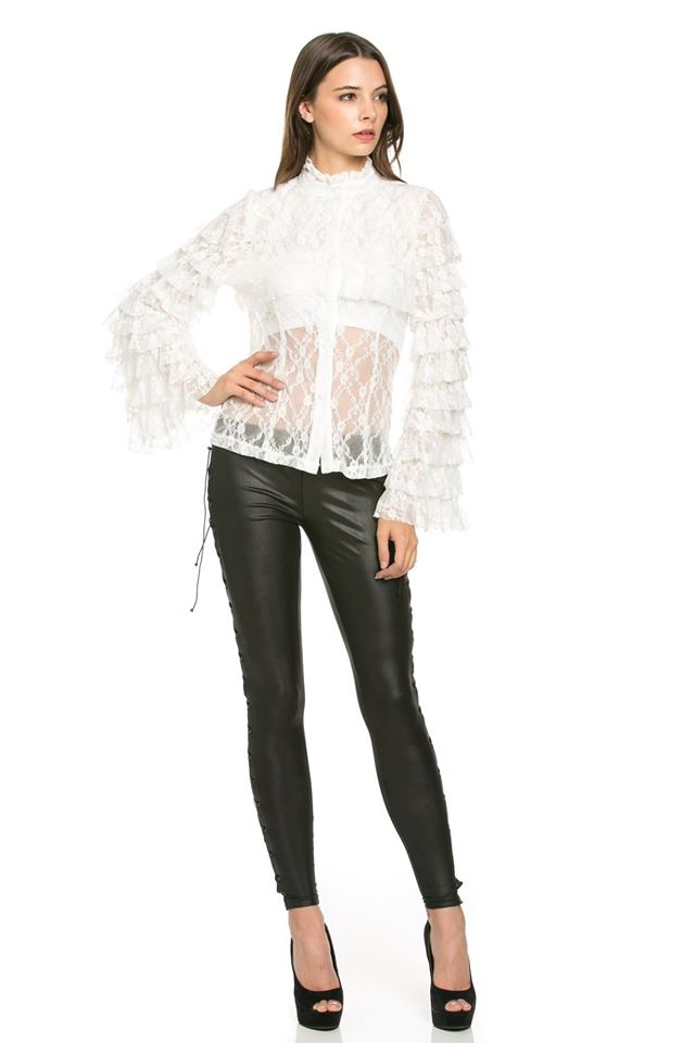 SHEER VICTORIAN WHITE  LACE BLOUSE
