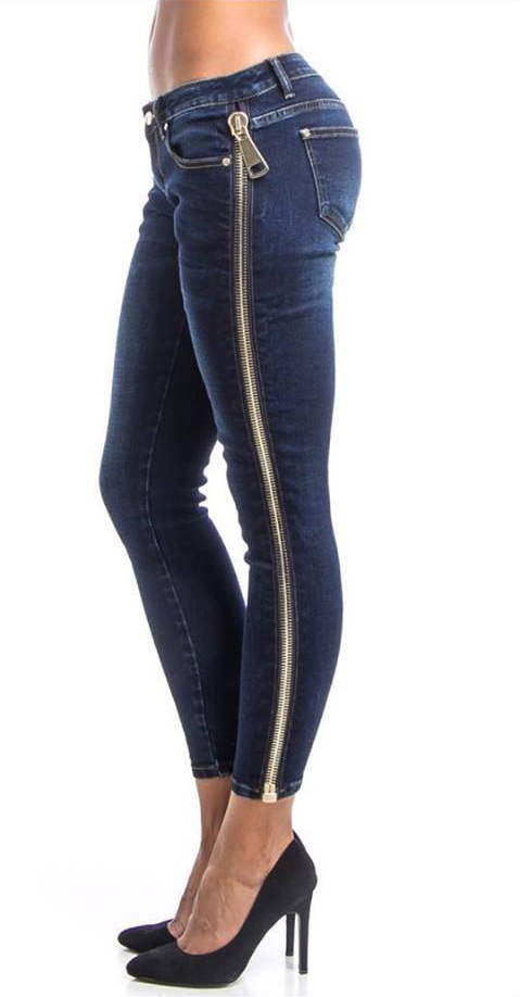 CHUNKY SIDE ZIPPER SKINNY JEANS