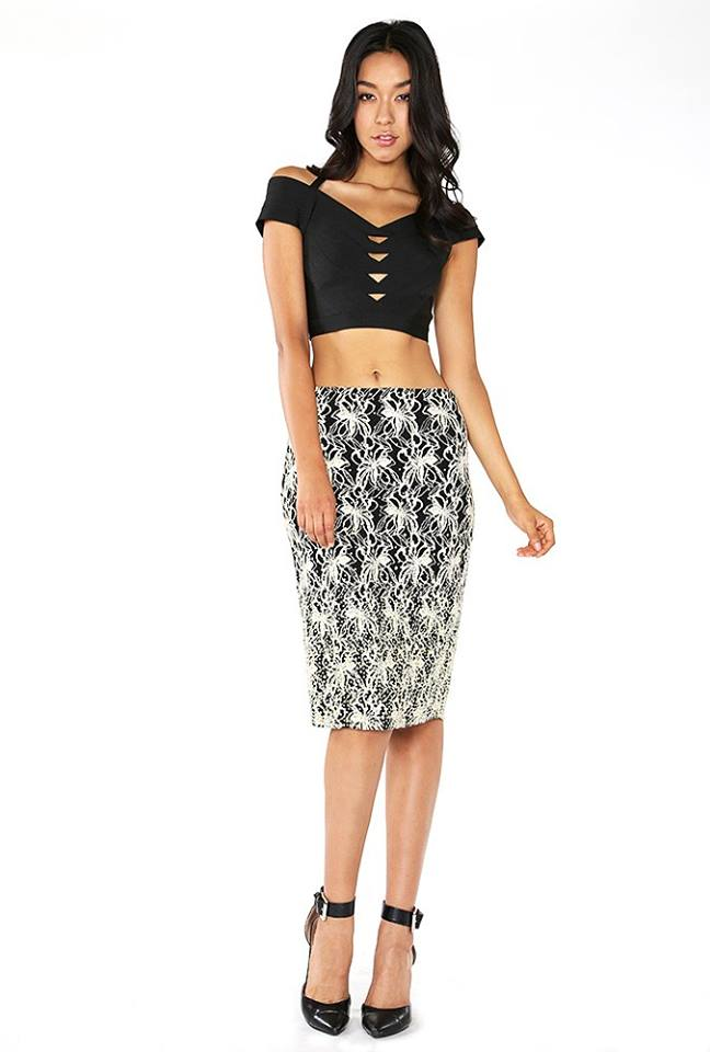 2 TONE LACE PENCIL SKIRT