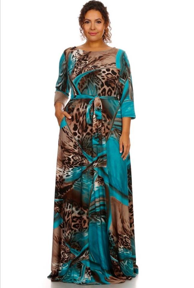 ABSTRACT LEAPORD PRINT MAXI