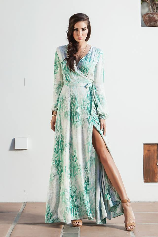 OVERLAP LONG SLEEVE MAXI