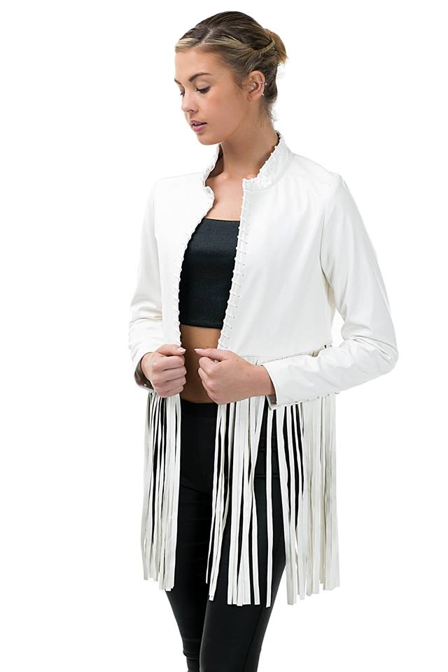 FRINGED OPEN CROP JACKET
