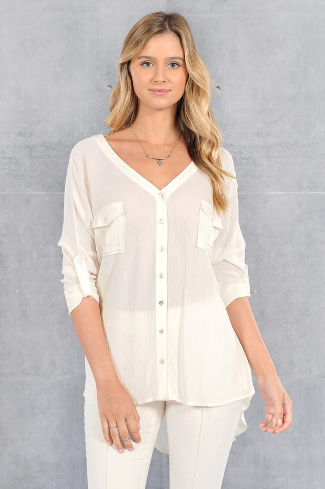 V NECK POCKET FRONT SHIRT