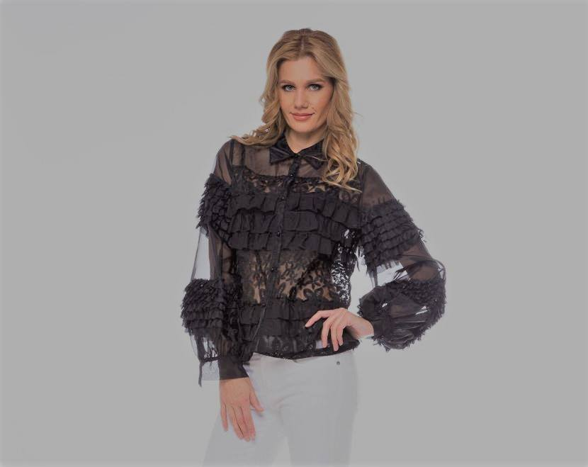 ORGANZA RUFFLE SEE THROUGHOUT TOP