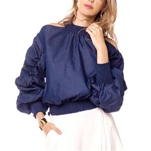 GATHERED SLEEVE DENIM TOP