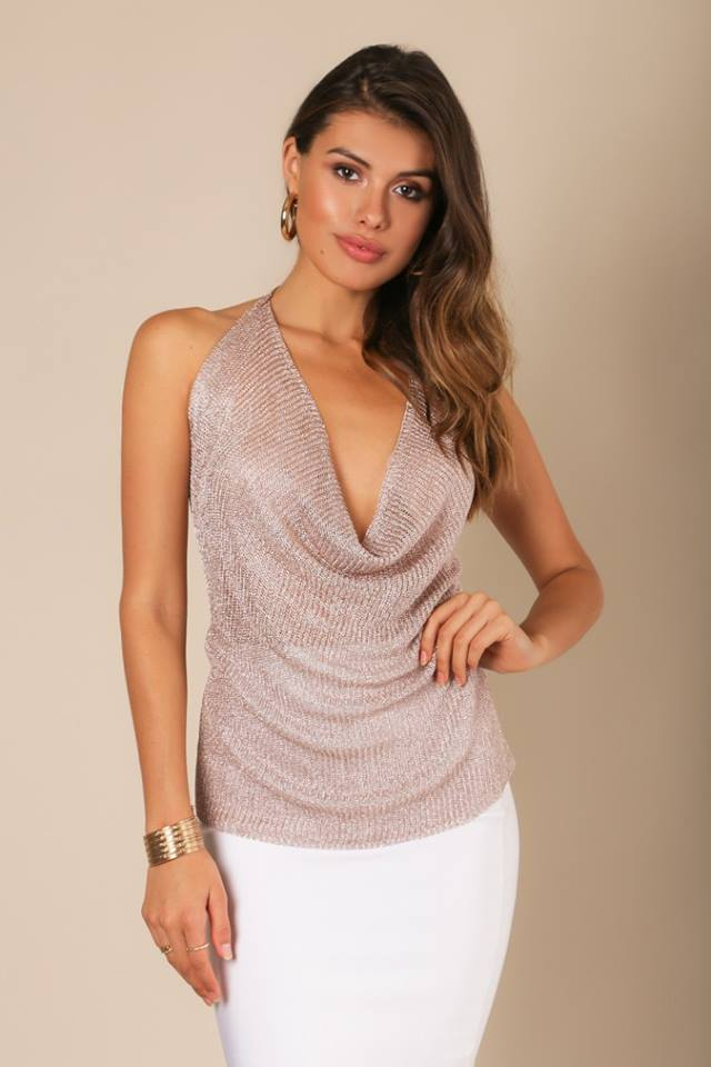 HALTER NECKLINE METALLIC TOP