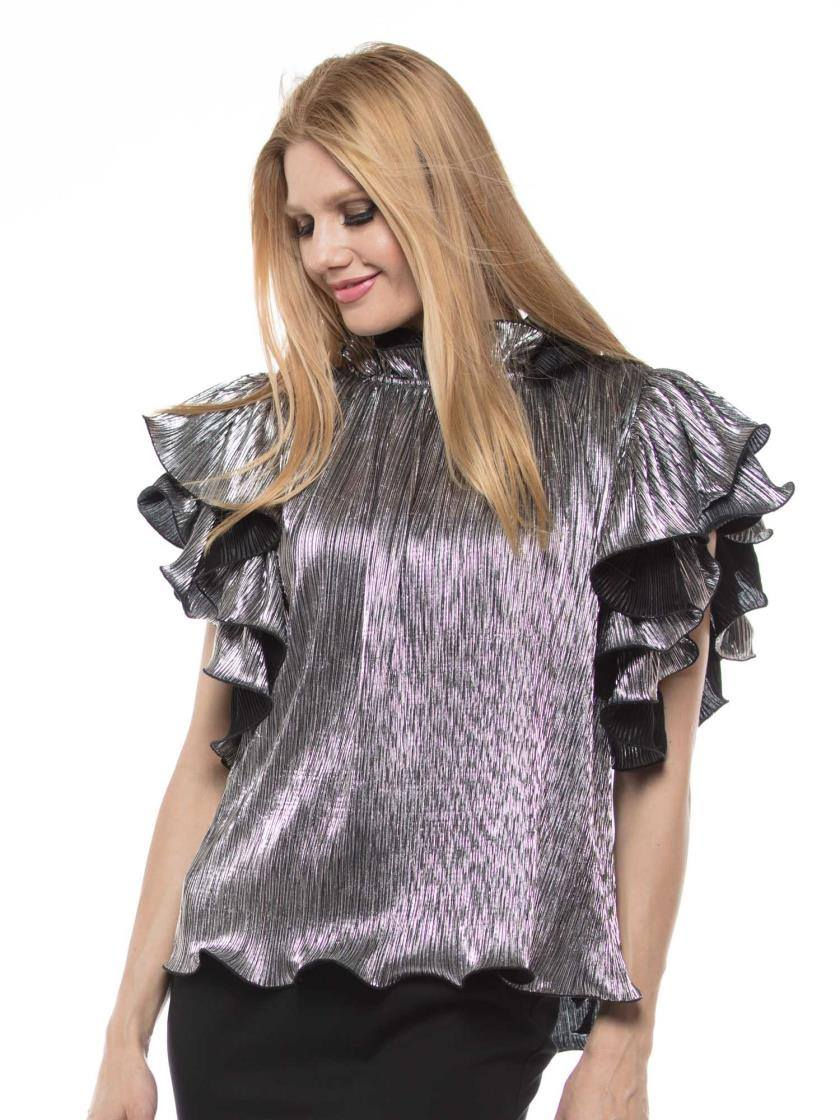 PLEATS DETAIL RUFFLE TOP