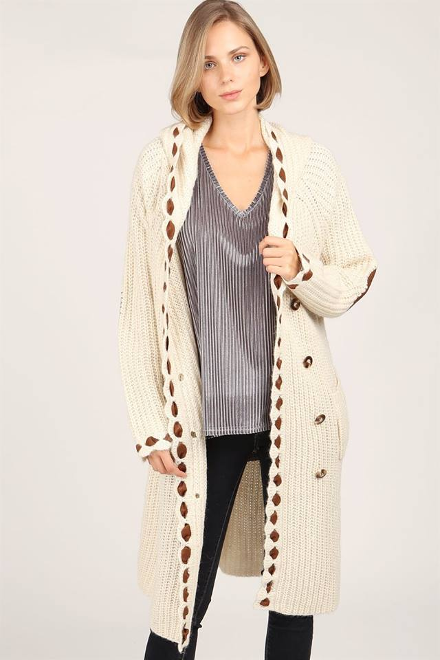 VALVET CHENILLE HOODED CARDIGAN