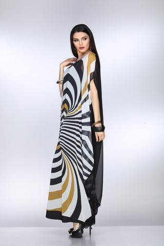 BLACK/OFF-WHITE 2PC KAFTAN