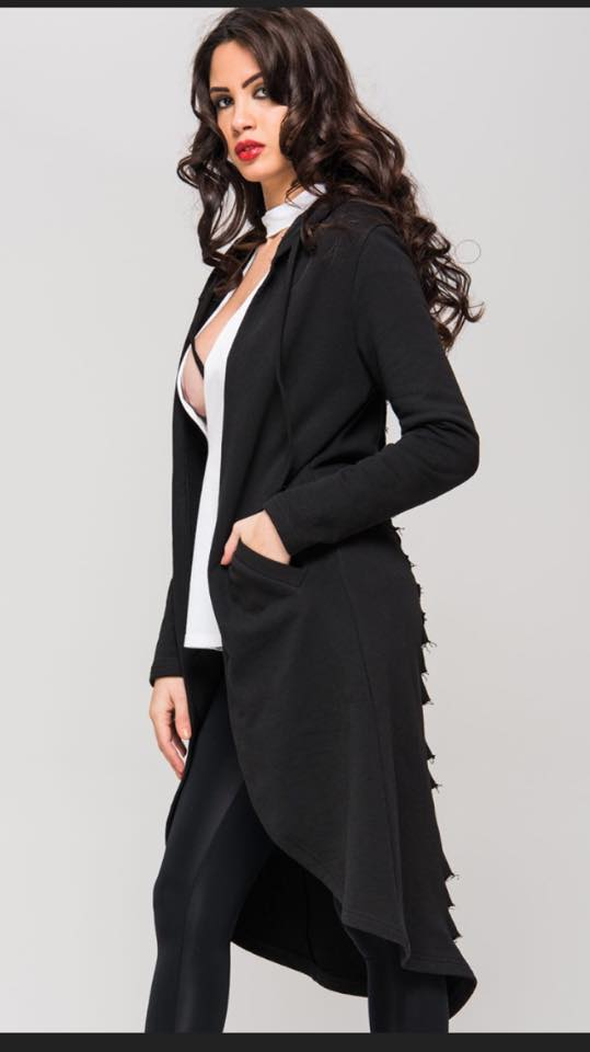 BLACK CUTOUT CARDIGAN