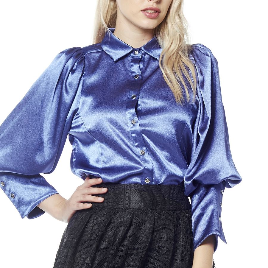 PUFF SLEEVE COLLAR SHIRT TOP