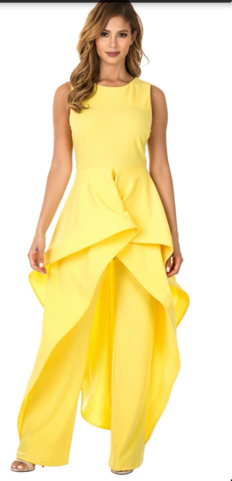 YELLOW RUFFLE JUMPSUIT