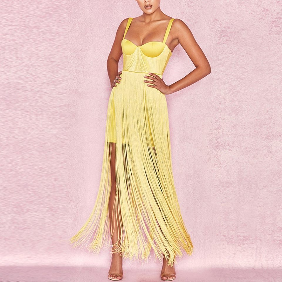 YELLOW TASSEL BANDAGE DRESS