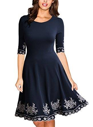 SCOOP NECK EMBROIDERED DRESS