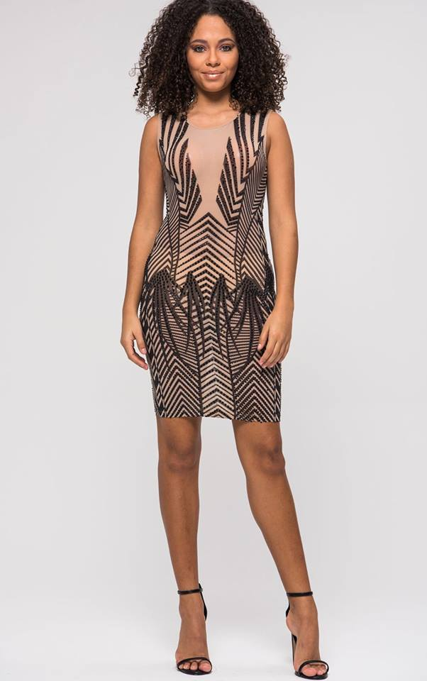 SHORT MESH BEADED DRESS
