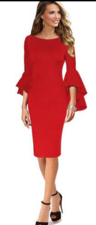 ELEGANT BELL SLEEVE DRESS