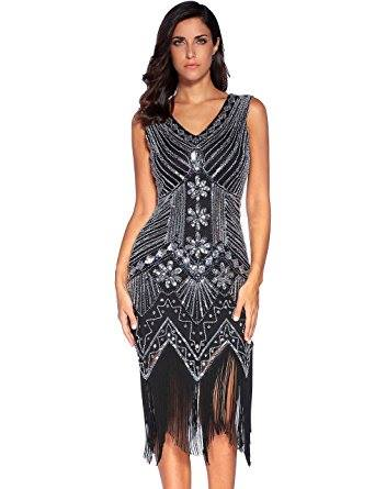 SEQUINED BEADED EVENING DRESS