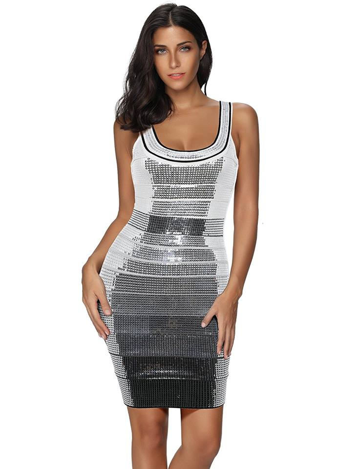 SEQUINED STRAP BANDAGE DRESS