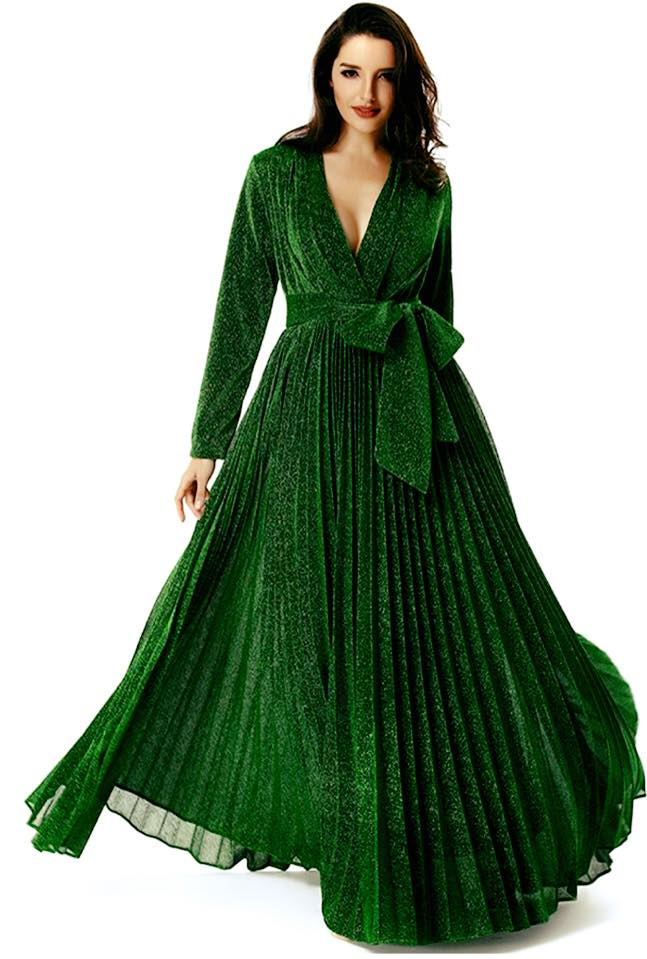 METALLIC EMERALD GREEN DRESS