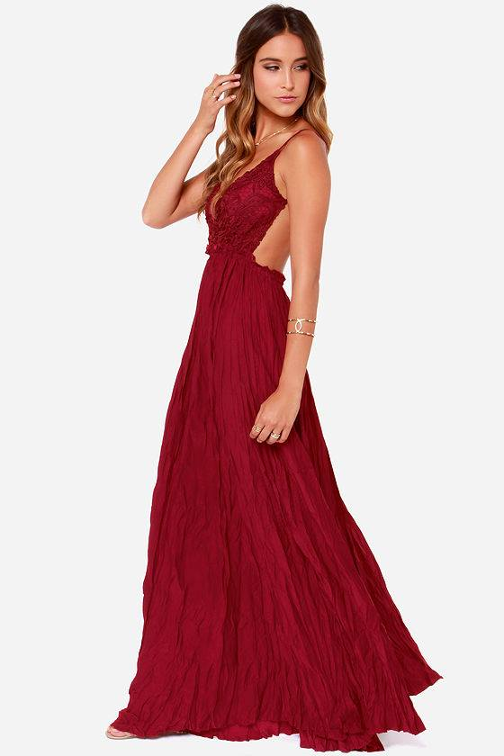 CROCHETED WINE MAXI