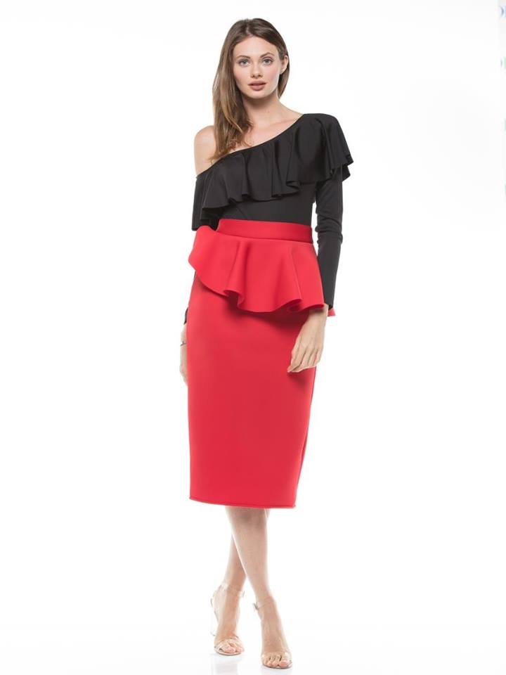 BASIC MIDI SCUBA PENCIL SKIRT