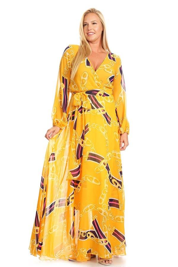 FLOWY WRAP MAXI W/ BOTTOM LINING