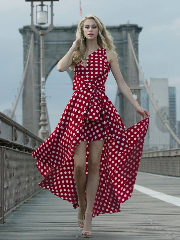 DOT PATTERN RUFFLE DRESS