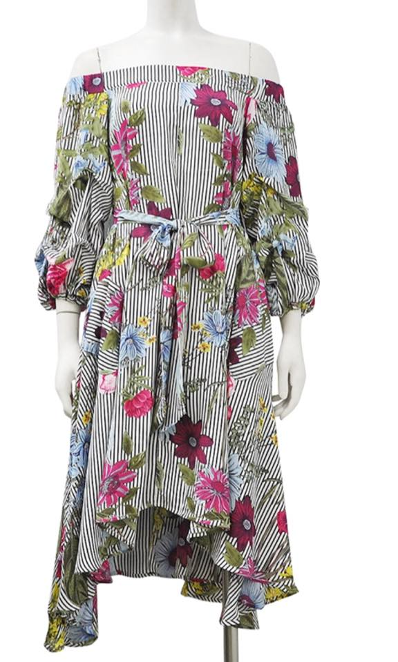RUFFLE SLEEVE PRINTING DRESS