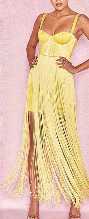 FRINGE BANDAGE BUSTIER DRESS