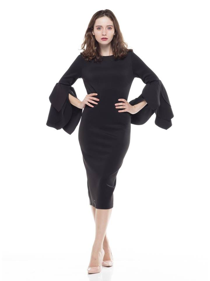 BLACK FARIC MODEST DRESS