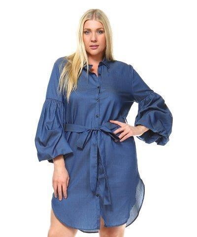 DENIM DRESS W/ PUFF SLEEVE