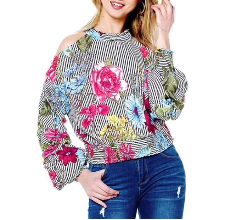 GATHERED SLEEVE PRINT TOP