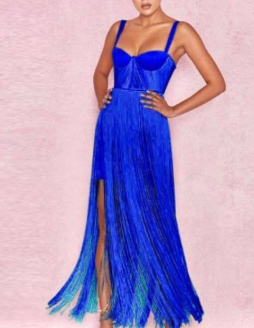 BLUE TASSEL BANDAGE DRESS