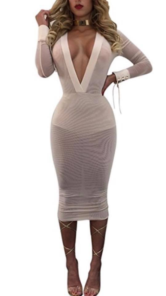 WHITE DEEP MESH DRESS