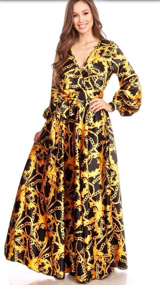 CHAIN PRINT LONG SLEEVE MAXI