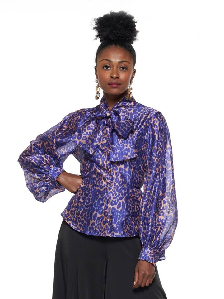 LEAPARD PATTERN BLOUSE TOP