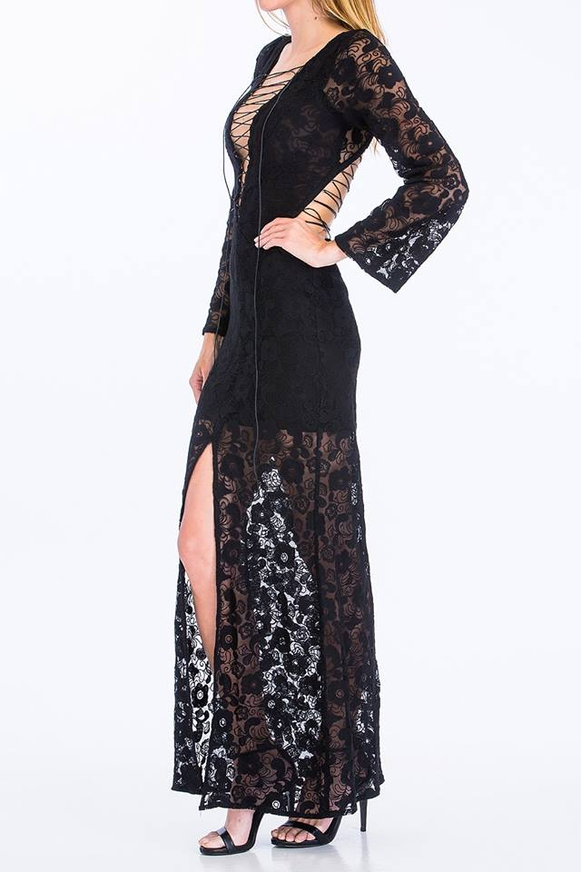 CROCHET LACE UP MAXI