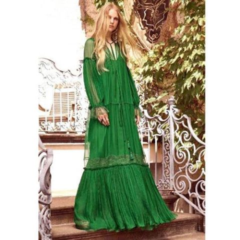 GREEN APPLLIQUE DRESS